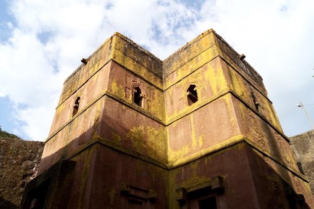 Felsenkirchen von Lalibela Georgskirch von aussen